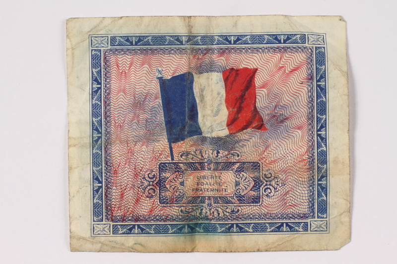 1992.122.9 back Allied Military Authority currency, 2 francs, for use in France, owned by a US soldier