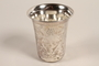 Hammered silver kiddush cup with floral engravings