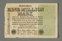 2017.404.3 front Weimar Germany Reichsbanknote, 1 million mark  Click to enlarge