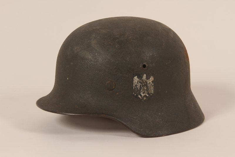1992.127.1 left side Wehrmacht helmet found by a US soldier in Aachen