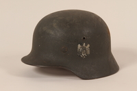 1992.127.1 left side Wehrmacht helmet found by a US soldier in Aachen  Click to enlarge