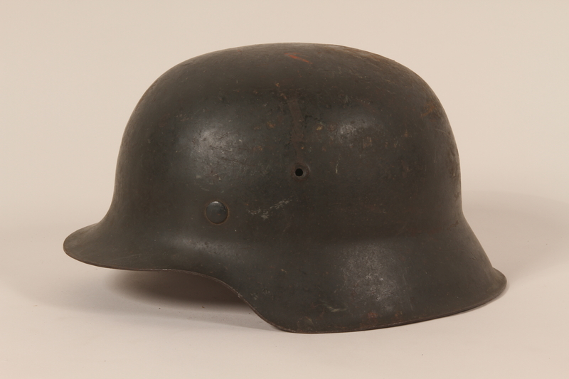 1992.127.2 left side Wehrmacht helmet found by a US soldier in Aachen