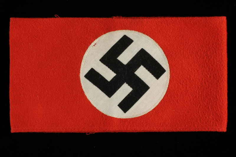 1992.127.8 front Nazi Party armband with swastika