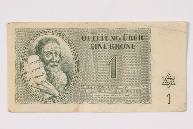 1992.132.16 front Theresienstadt ghetto-labor camp scrip, 1 krone note