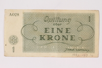 1992.132.16 back Theresienstadt ghetto-labor camp scrip, 1 krone note  Click to enlarge