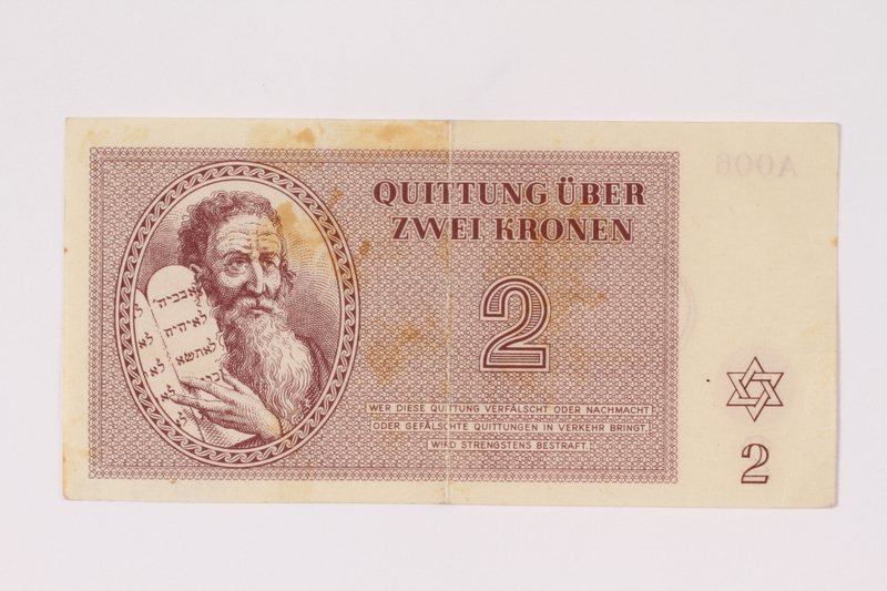 1992.132.17 front Theresienstadt ghetto-labor camp scrip, 2 kronen note acquired by a Jewish Czech woman