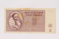 1992.132.17 front Theresienstadt ghetto-labor camp scrip, 2 kronen note acquired by a Jewish Czech woman  Click to enlarge