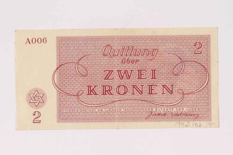 1992.132.17 back Theresienstadt ghetto-labor camp scrip, 2 kronen note acquired by a Jewish Czech woman