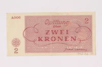 1992.132.17 back Theresienstadt ghetto-labor camp scrip, 2 kronen note acquired by a Jewish Czech woman  Click to enlarge