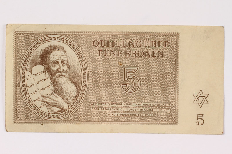 1992.132.18 front Theresienstadt ghetto-labor camp scrip, 5 kronen note acquired by a Jewish Czech woman