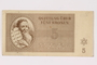 Theresienstadt ghetto-labor camp scrip, 5 kronen note acquired by a Jewish Czech woman