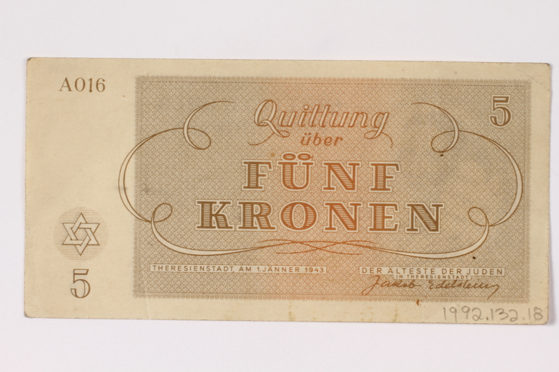 1992.132.18 back Theresienstadt ghetto-labor camp scrip, 5 kronen note acquired by a Jewish Czech woman