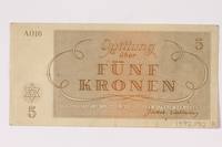 1992.132.18 back Theresienstadt ghetto-labor camp scrip, 5 kronen note acquired by a Jewish Czech woman  Click to enlarge