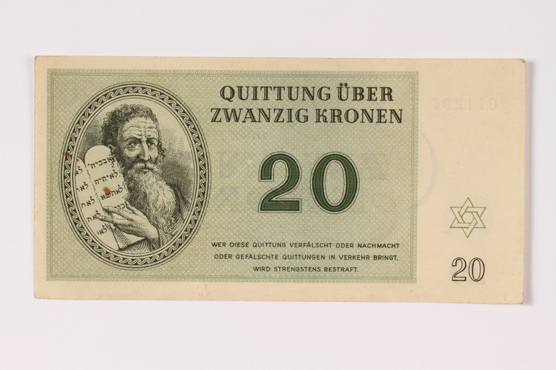 1992.132.19 front Theresienstadt ghetto-labor camp scrip, 20 kronen note acquired by a Jewish Czech woman