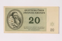 1992.132.19 front Theresienstadt ghetto-labor camp scrip, 20 kronen note acquired by a Jewish Czech woman  Click to enlarge