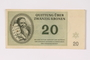 Theresienstadt ghetto-labor camp scrip, 20 kronen note acquired by a Jewish Czech woman