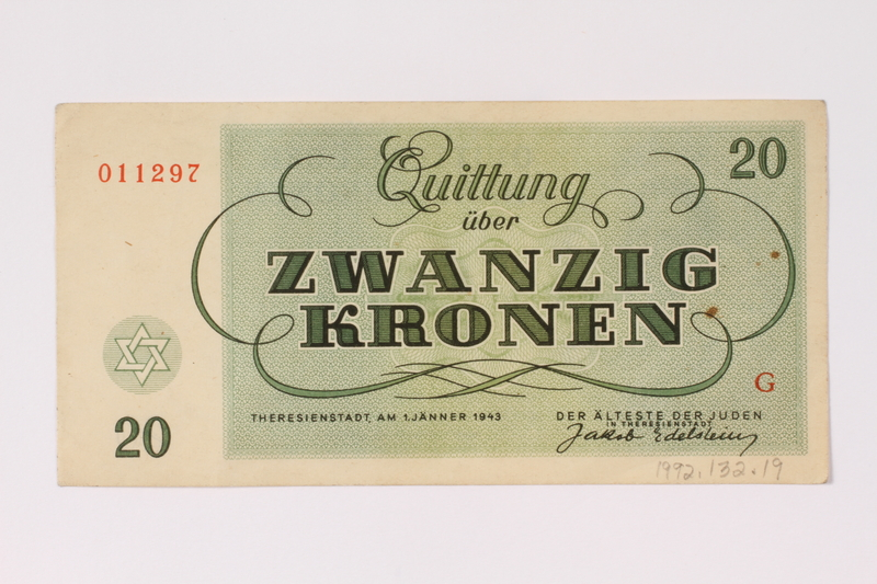 1992.132.19 Theresienstadt ghetto-labor camp scrip, 20 kronen note acquired by a Jewish Czech woman