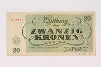 1992.132.19 Theresienstadt ghetto-labor camp scrip, 20 kronen note acquired by a Jewish Czech woman  Click to enlarge