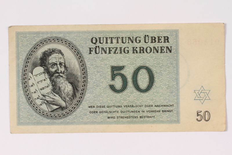 1992.132.20 front Theresienstadt ghetto-labor camp scrip, 50 kronen note acquired by a Jewish Czech woman