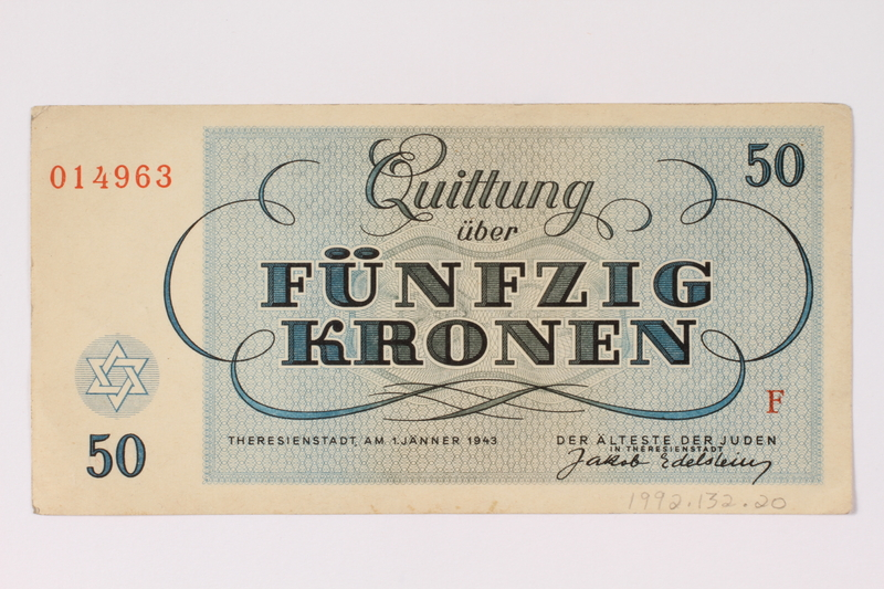 1992.132.20 back Theresienstadt ghetto-labor camp scrip, 50 kronen note acquired by a Jewish Czech woman