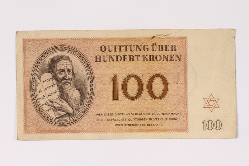 1992.132.21 front Theresienstadt ghetto-labor camp scrip, 100 kronen note acquired by a Jewish Czech woman