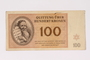 Theresienstadt ghetto-labor camp scrip, 100 kronen note acquired by a Jewish Czech woman