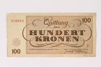 1992.132.21 back Theresienstadt ghetto-labor camp scrip, 100 kronen note acquired by a Jewish Czech woman  Click to enlarge