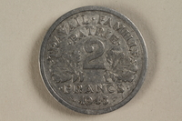 1992.142.1 front France, 2 franc coin  Click to enlarge