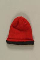 1992.143.1 front Red knit cap from the postwar period  Click to enlarge