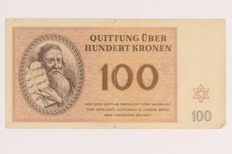 2012.425.2 front Theresienstadt ghetto-labor camp scrip, 100 kronen note, acquired by a German Jewish refugee