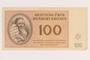 Theresienstadt ghetto-labor camp scrip, 100 kronen note, acquired by a German Jewish refugee