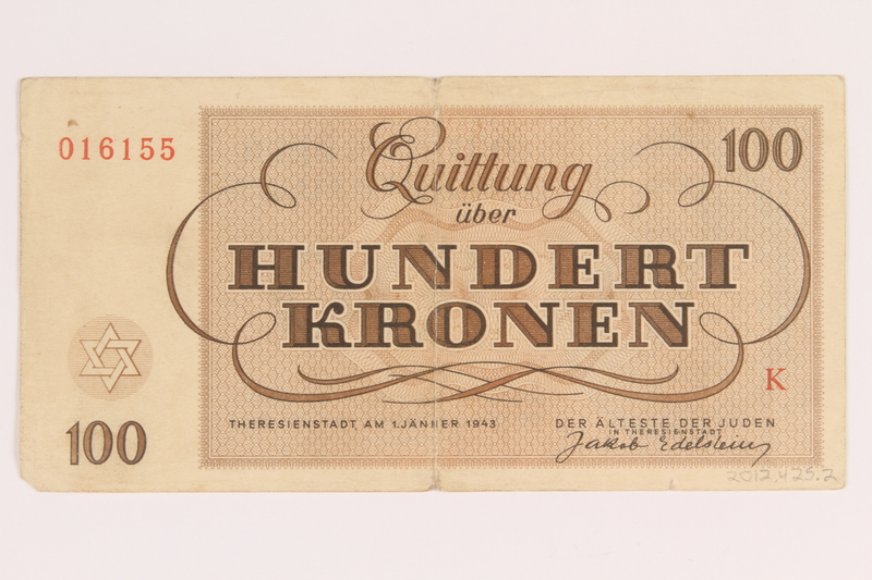 2012.425.2 back Theresienstadt ghetto-labor camp scrip, 100 kronen note, acquired by a German Jewish refugee