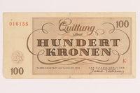 2012.425.2 back Theresienstadt ghetto-labor camp scrip, 100 kronen note, acquired by a German Jewish refugee  Click to enlarge