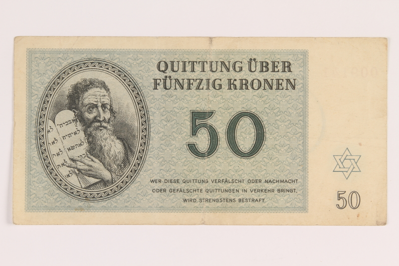 2012.425.3 front Theresienstadt ghetto-labor camp scrip, 50 [funfzig] kronen note, acquired by a German Jewish refugee