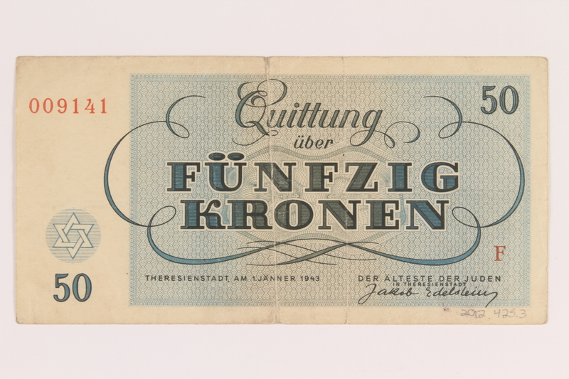 2012.425.3 back Theresienstadt ghetto-labor camp scrip, 50 [funfzig] kronen note, acquired by a German Jewish refugee