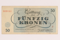 2012.425.3 back Theresienstadt ghetto-labor camp scrip, 50 [funfzig] kronen note, acquired by a German Jewish refugee  Click to enlarge