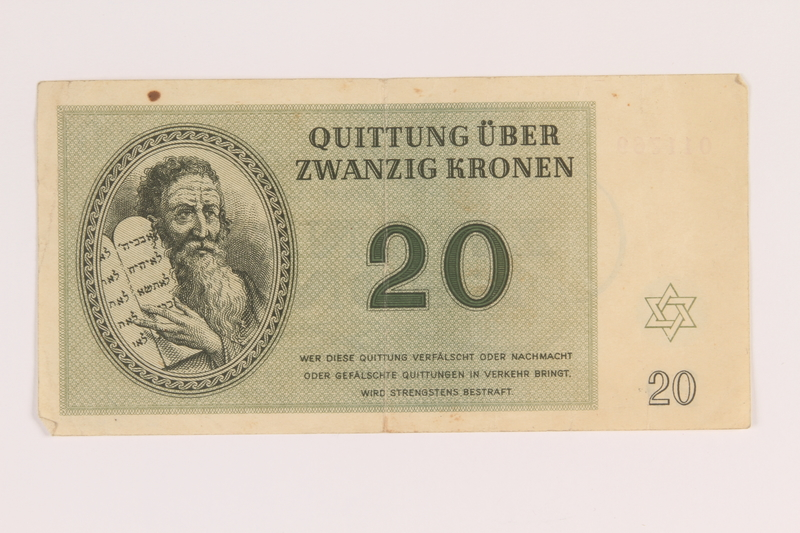 2012.425.4 front Theresienstadt ghetto-labor camp scrip, 20 kronen note, acquired by a German Jewish refugee