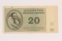Theresienstadt ghetto-labor camp scrip, 20 kronen note, acquired by a German Jewish refugee