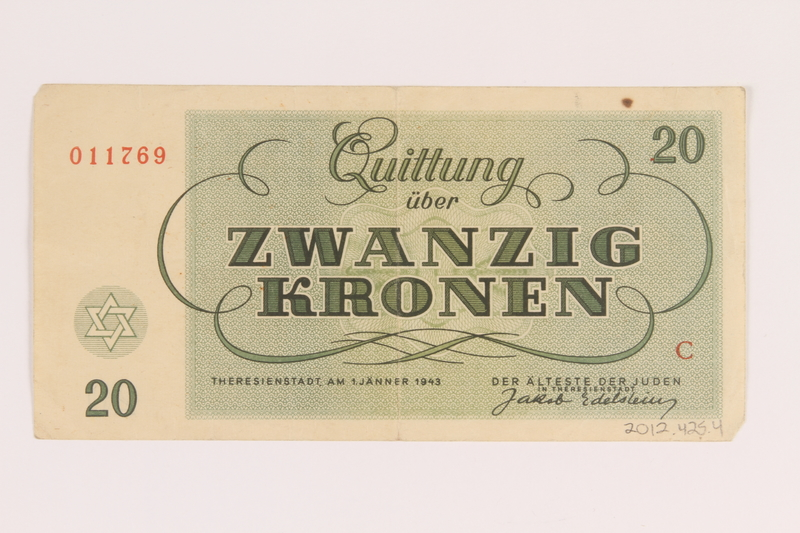 2012.425.4 back Theresienstadt ghetto-labor camp scrip, 20 kronen note, acquired by a German Jewish refugee