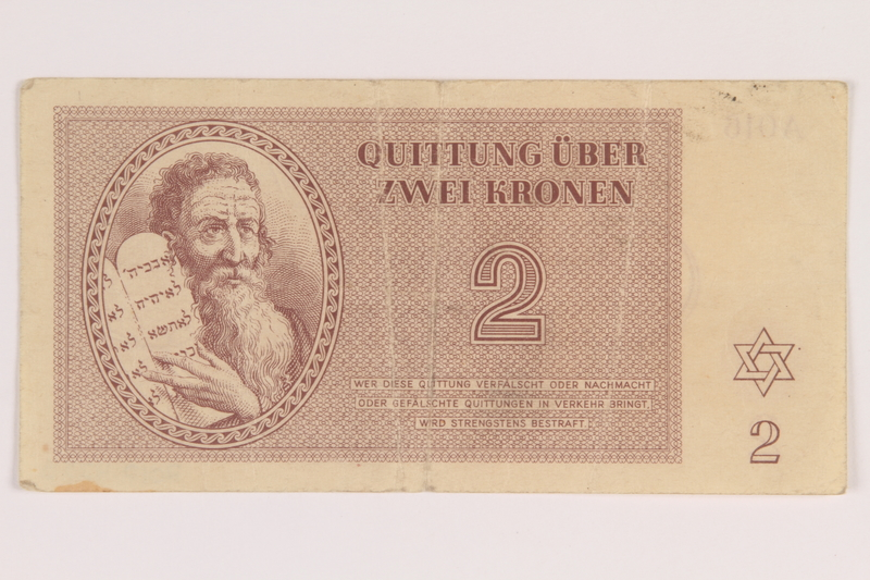 2012.425.5 front Theresienstadt ghetto-labor camp scrip, 2 kronen note, acquired by a German Jewish refugee
