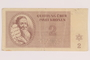 Theresienstadt ghetto-labor camp scrip, 2 kronen note, acquired by a German Jewish refugee