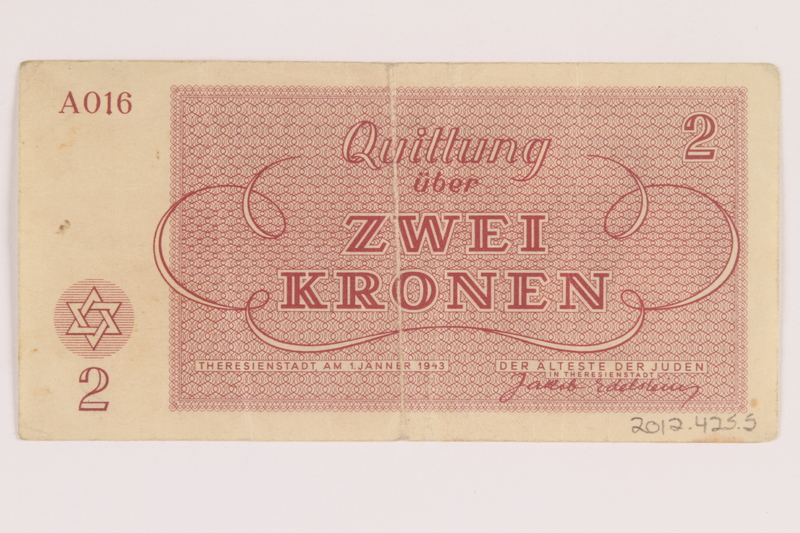 2012.425.5 back Theresienstadt ghetto-labor camp scrip, 2 kronen note, acquired by a German Jewish refugee