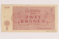 2012.425.5 back Theresienstadt ghetto-labor camp scrip, 2 kronen note, acquired by a German Jewish refugee  Click to enlarge