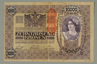 2017.517.3 back Austrian 10,000 Kronen banknote owned by a Viennese Jewish refugee family  Click to enlarge