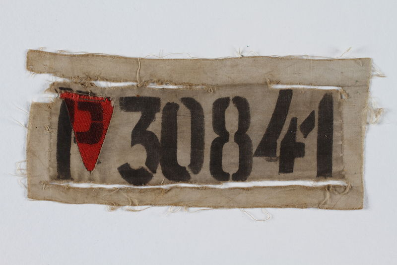 1992.160.2 front Prisoner badge with number and red triangle