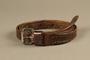 Brown leather belt worn by a Dutch Jewish political prisoner in Auschwitz-Birkenau
