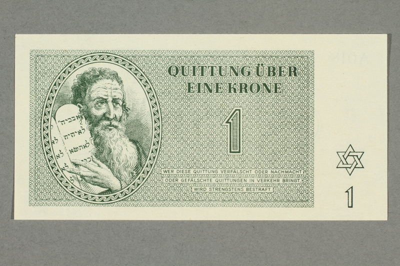 1999.A.0036.2 front Theresienstadt ghetto-labor camp scrip, 1 krone note