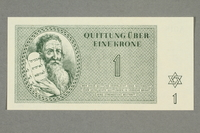 1999.A.0036.2 front Theresienstadt ghetto-labor camp scrip, 1 krone note  Click to enlarge