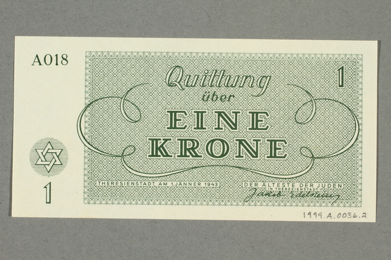 1999.A.0036.2 back Theresienstadt ghetto-labor camp scrip, 1 krone note