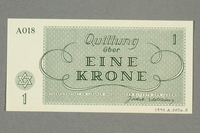 1999.A.0036.2 back Theresienstadt ghetto-labor camp scrip, 1 krone note  Click to enlarge